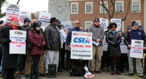 Southern Region President Billy Riccaldo addresses the crowd. Westchester County Local President John Staino is third from right, next to Riccaldo.